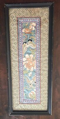 Antique Chinese Silk Forbidden? Stitch Embroidery Wall Frame Flowers Butterfly
