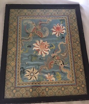 Antique Chinese Silk Embroidery Swatch Blue Flowers Butterfly Forbidden Stitch?