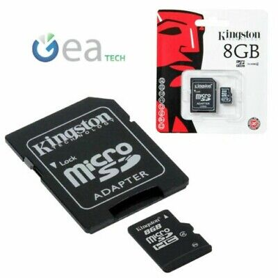 Kingston Microsd de 4gb 8gb Clase 4 Original Memoria Sd Tarjeta + Adaptador
