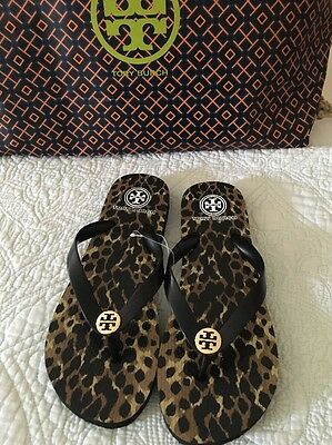 20d9a817c04e TORY BURCH Leopard Flip Flop Sandals Black Gold Logo Size 6 New