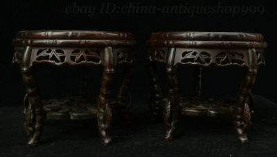 """8"""" Antique Old Chinese Rosewood Wood Flower Bottle Vase Base Small stool Statue"""