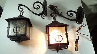 Pair Great Hand made wrought lantern sconces with glass arts crafts craftsman