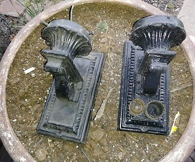 Pair Architectural Salvage Cast Iron Wall Sconces Light Fixtures