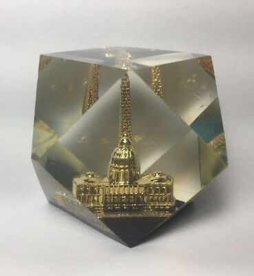 Washington DC Lucite Paperweight Capitol Building Monument Gold Clear Acrylic