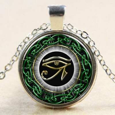 New Egyptian Eye of Horus Ra Udjat Glass Art Pendant Chain Amulet Pagan Necklace