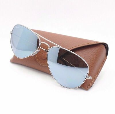 346f006652578 New RayBan RB 3025 58mm 019W3 Matte Silver Polarized Mirror Authentic  Sunglasses