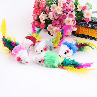 5PCS Cat Kitten Toys Furry Mice Color Feather Mouse With Toy Colorful New