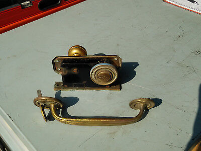 "Vintage Yale brass Mortise Lockset push button with 9"" ext door handle working"