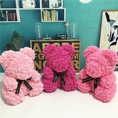 25cm Teddy Bear Rose Flower Decor Wedding Girlfriend Gift Birthday Valentine