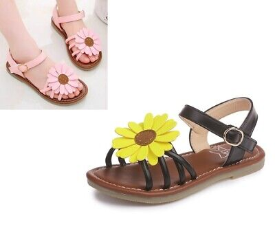 Kids Toddler Slippers Baby Girls Sandals Hook and Loop Leather Sun Flower Shoes