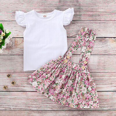 AU Newborn Kids Baby Girls Tops T-shirt Flower Suspender Skirt Dress Outfits Set