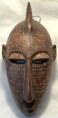 Vintage & Hand Carved African Solid Wood TRIBAL MASK Shamanic Wall Decor - EXC!