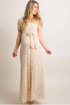 5b306080ede36 NWT Pink Blush Beige Lace Sash Tie Maternity Gown Dress Size Small MSRP $95  maxi