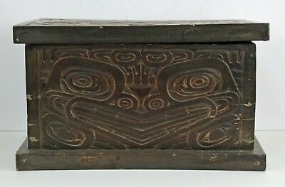 Antique Pacific Northwest Style Hand Carved Chest ~ Frog Design ~ Early 20Th C.