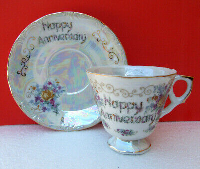 Norleans HAPPY ANNIVERSARY Iridescent Tea Cup and Saucer Japan
