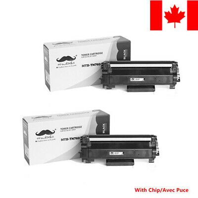 2 Pack TN760 Black Toner Cartridge With Chip For Brother MFC-L2730DW HL-L2395DW
