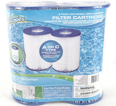 Type D Pool Filter Cartridges 2-Pack by Summer Escapes Universal Replacement Model