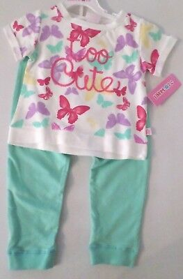 Limited Too Girls 2 Pc Butterfly Set Top & Pants White/Lt Green/Multi Size 4T