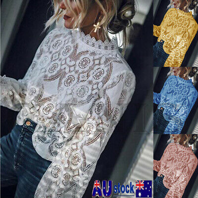 Women Mesh Lace Tee Tops Ladies Long Sleeve Shirt Hollow out Floral Blouse