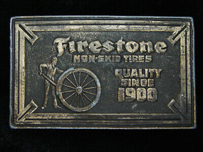 QG25111 VINTAGE 1970s **FIRESTONE NON-SKID TIRES QUALITY SINCE 1900** BUCKLE