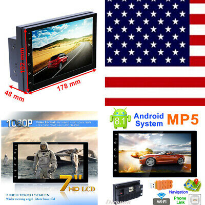 "7"" HD Android8.1 WiFi 2Din Quad Core GPS Navi Car Stereo MP5 Player DVD FM Radio"
