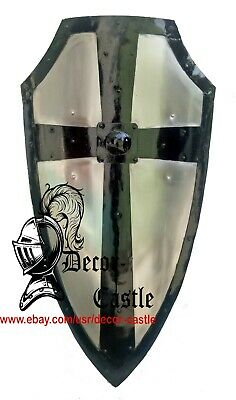 Hand-Forged Gothic LAYERED STEEL CROSS SHIELD Medieval Battle Armor