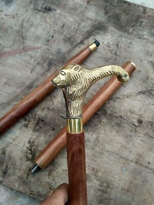 Brass Solid Lion Head Vintage Designer Wooden Walking Stick Cane Antique Gift