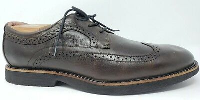 7bdf327ce92 Abeo Bio Mens size 12 N Narrow Brown Niles Wing Tip Lace Up Oxfords Dress  Shoes
