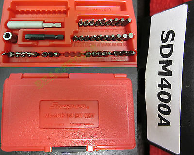 New Snap On Master Screwdriver Bit 37 Pcs Set in a Red Hard Case SDM400A