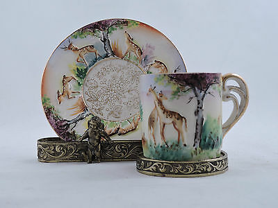 """Small Demitasse Cup & Saucer Hand Painted """"OK"""" Japan Transfer Print Embossed"""