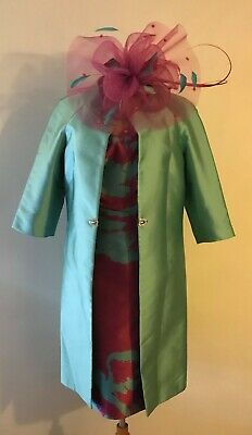 New! Carla Ruiz Mother Of The Bride Hot Pink & Aqua Dress & Duster Coat