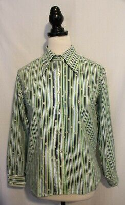 VINTAGE 1970's ~ Green White Blue Striped Shamrocks Long Sleeved Blouse Shirt 18