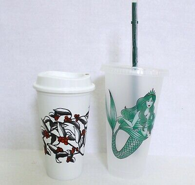 Starbucks Reusable Plastic Frosted Siren Mermaid Cold Cup & Cherries Hot Cup