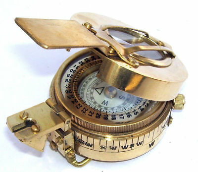 New Military Engineering Brass Compass Prismatic Vintage Nautical Style