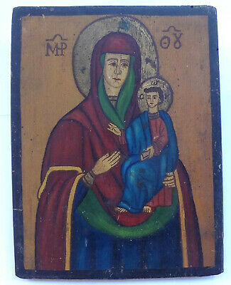 Greece 1900's Virgin MARY Antique Greek Orthodox Hand Painted Icon on Wood