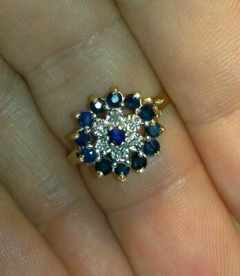 14k Yellow Gold Over 2 CT Round Cut Blue Sapphire & Diamond Cluster Wedding Ring