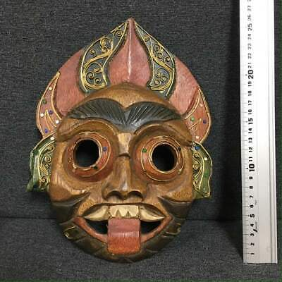 Very Rare Vintage Thailand Wooden Hand Carving Sculpture Traditional Mask G9