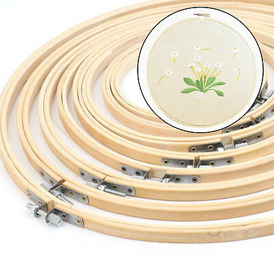 """5-13"""" Wooden Bamboo Embroidery Cross Stitch Tapestry DIY Ring Hoop Round Frame"""