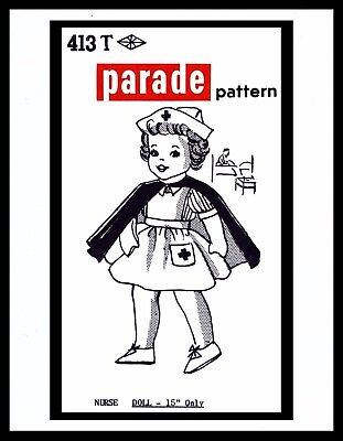 """Sewing Pattern Doll 15"""" WWII NURSE GIRL Plush Soft Jointed Body Toy PARADE 413-T"""