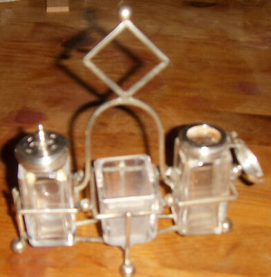 Vintage Silver Plated Stand With Salt & Pepper Pots, and Mustard Dish