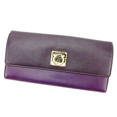 Salvatore Ferragamo Wallet Ganchini Purple Gold Woman Authentic Used T2280