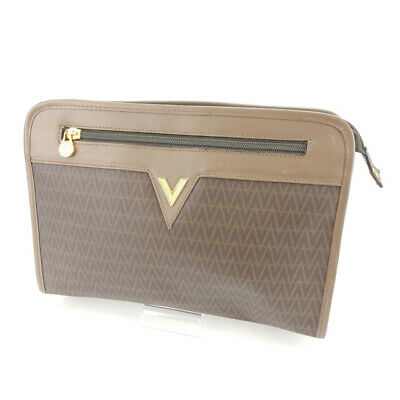 7a3dea294e Valentino Clutch bag Second bag V logos Brown Gold Woman Authentic Used Q144
