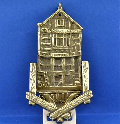 Vintage Brass door Knocker GODS PROVIDENCE HOUSE Chester 1652 England  13.8 cm H