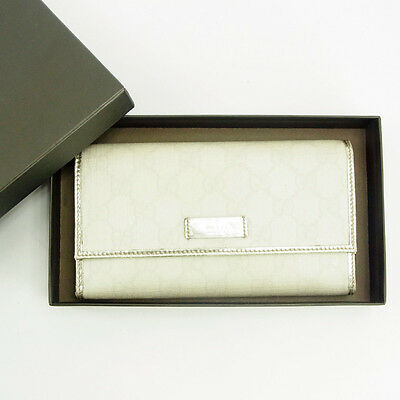 f21efb385160ac Gucci Wallet Purse Long Wallet G logos White Silver Woman Authentic Used  Y4861
