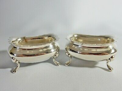 Pair of Antique 1900-01 Sterling Solid Silver Salt Dish Pot Cellar Glass Liners