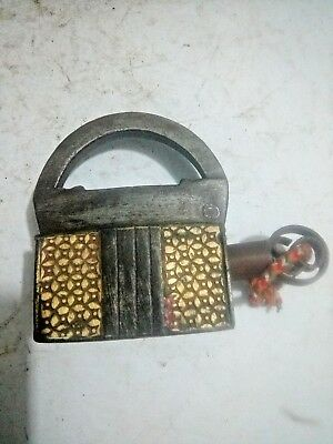 Antique Old Iron Brass Work Handcrafted Screw System  Key Pad Lock Rich Patina