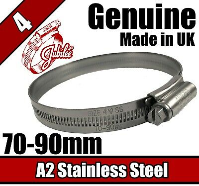Genuine Jubilee A2 Stainless Steel Clip Hose Pipe Clamp Worm Drive 70mm - 90mm 4