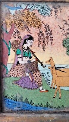 """Old Antique Mughal Or Islamic Style Miniature  Royal Musician"""""""