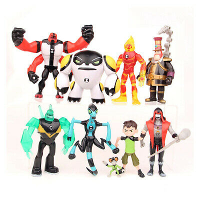 9pcs Ben 10 Action Figures Ben Tennyson Four Arms Grey Matter Heatblast PVC Toys