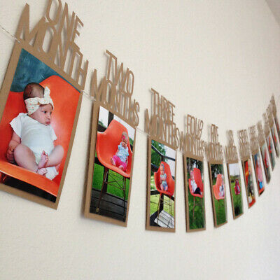 Monthly 1St One Year Old Baby Photo Booth Birthday Party Banner Flag Decor DIY V